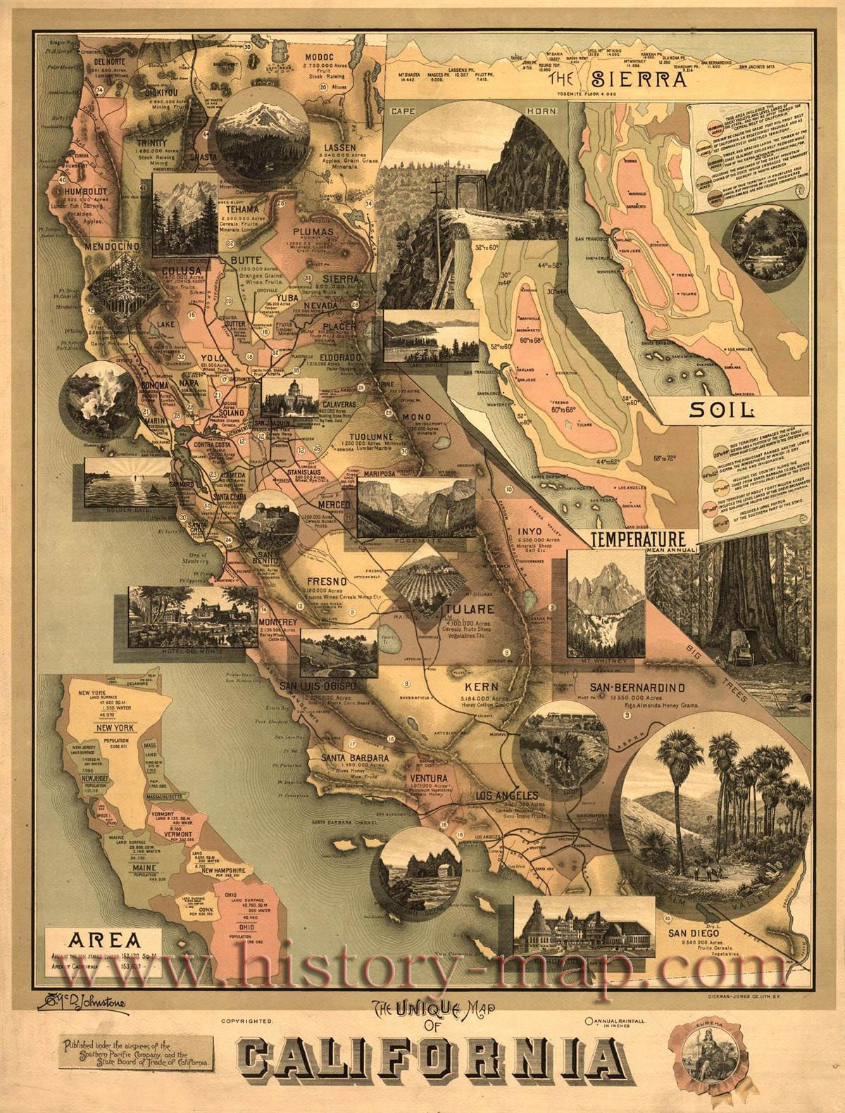 California) Vintage California History Map | Road Trip | Pinterest - Vintage California Map