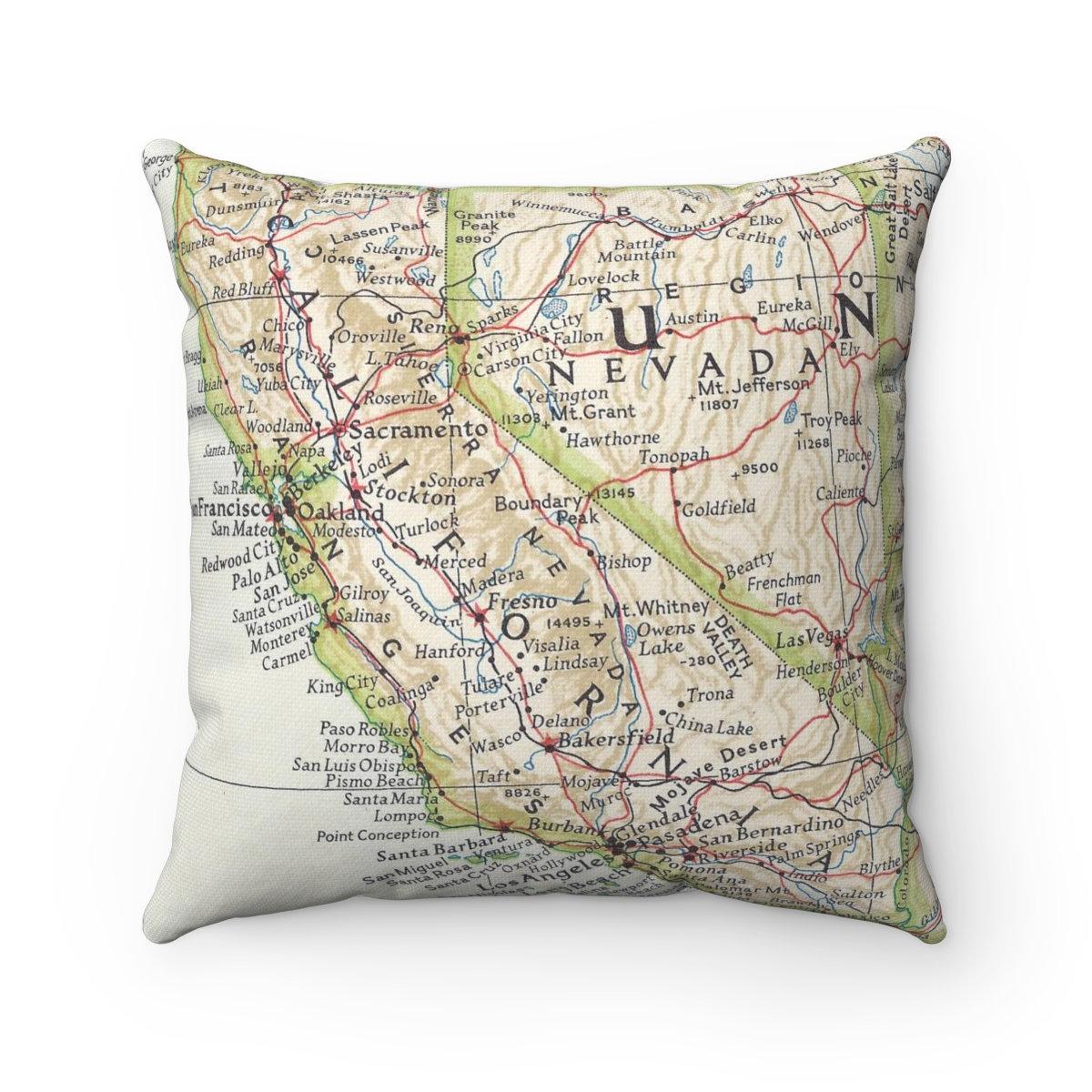 California Vintage Map Pillow California Pillow California   Etsy - California Map Pillow