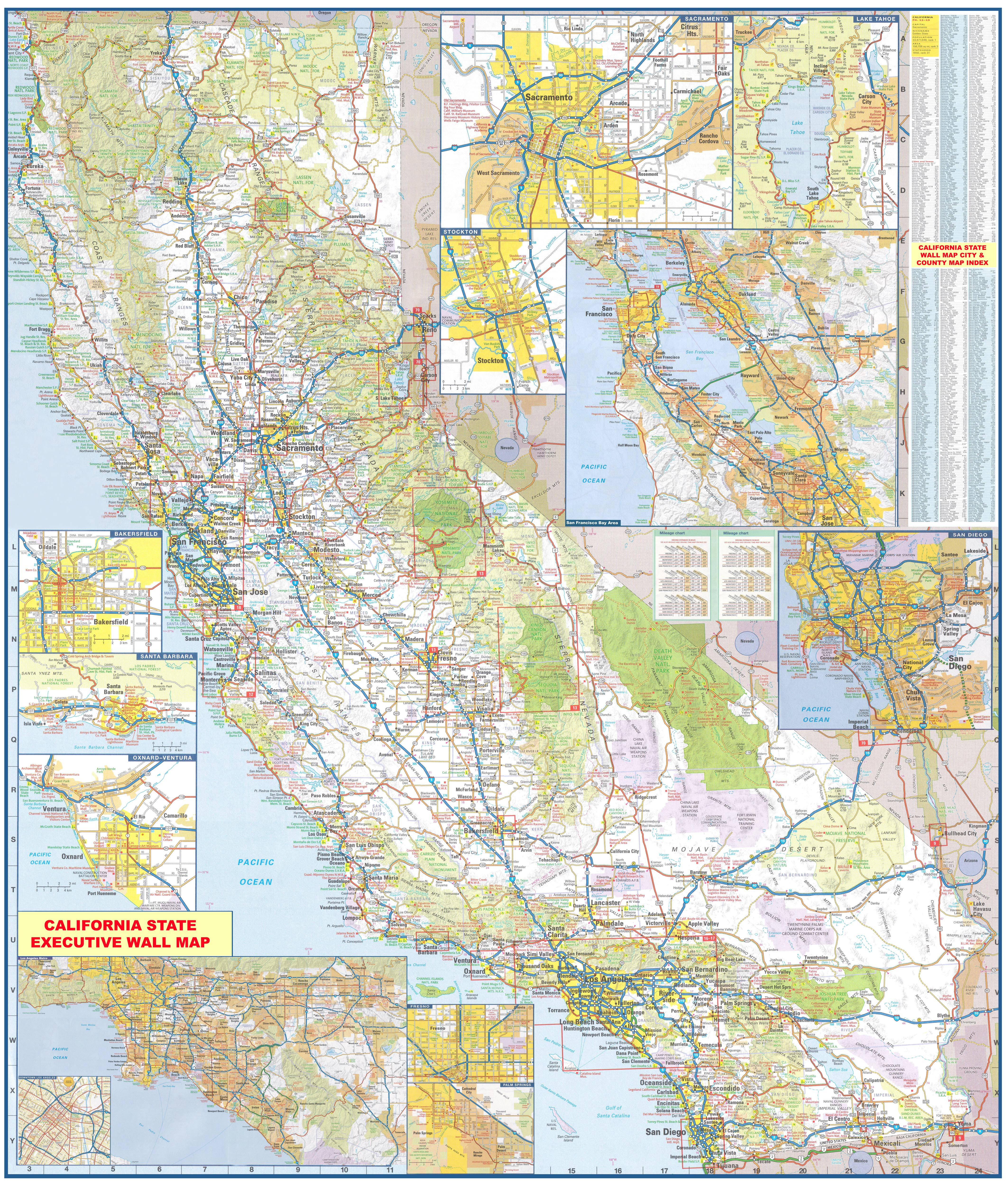 California Wall Map Executive Commercial Edition - Large Wall Map Of California