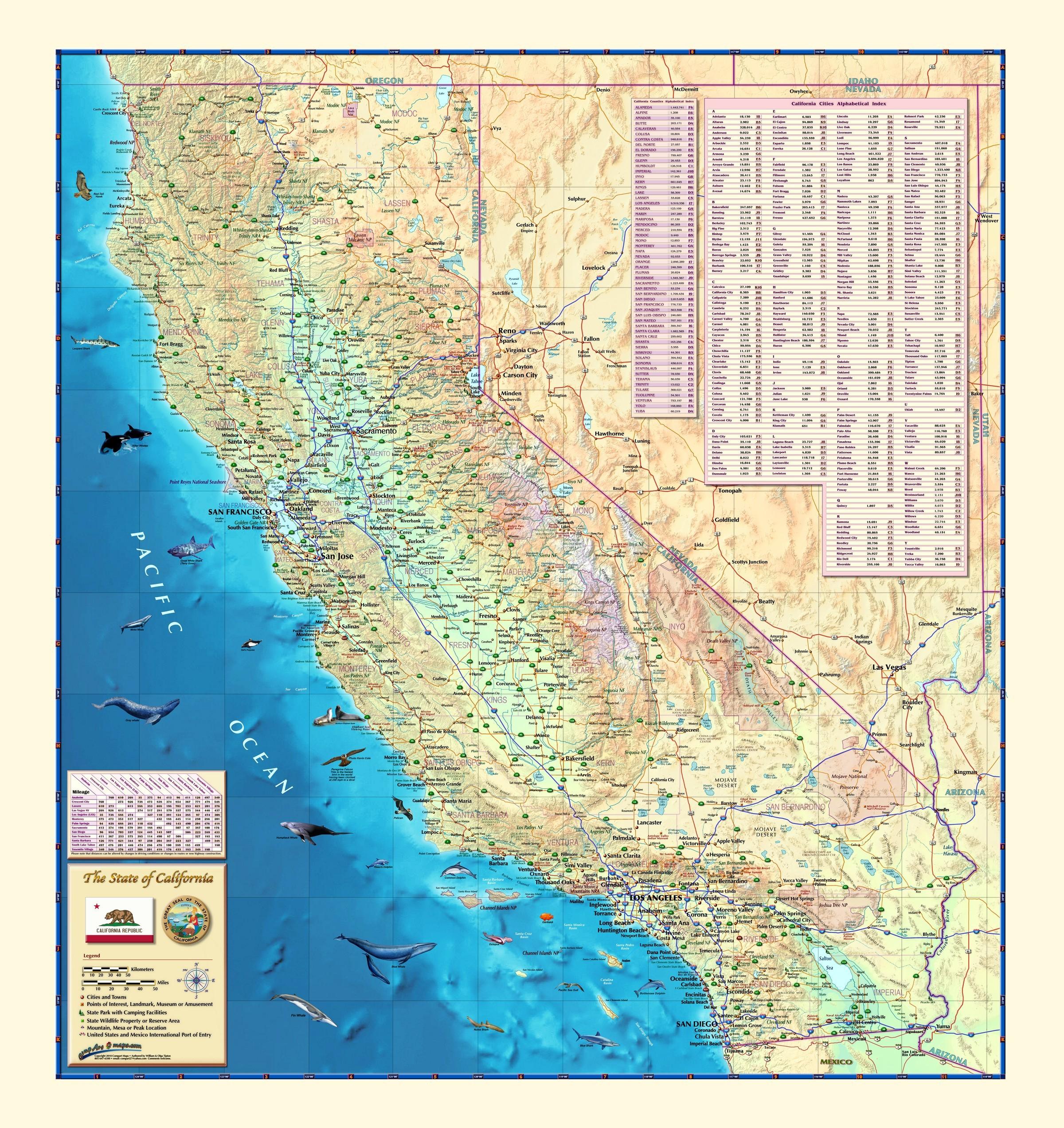 California Wall Map - Maps - Laminated California Map