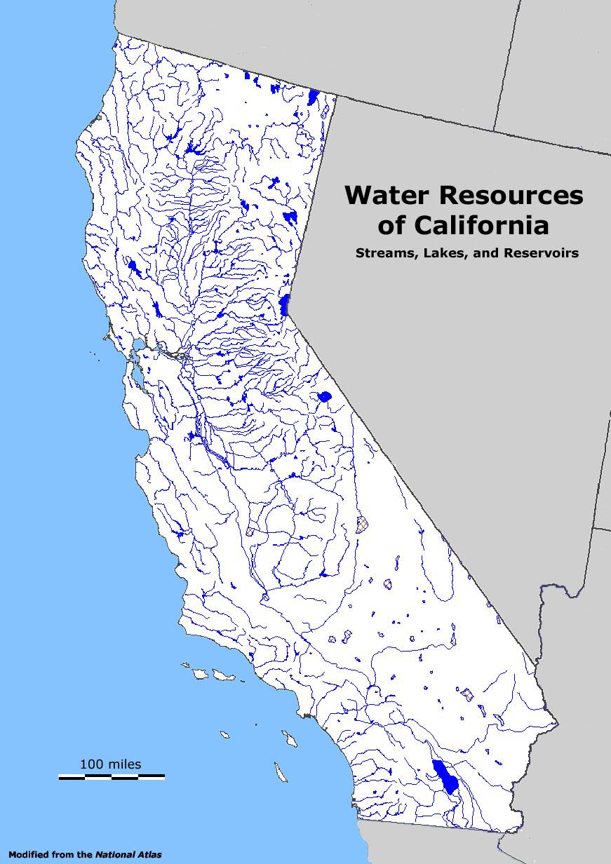 California Water Resources Map - Klipy - California Water Map