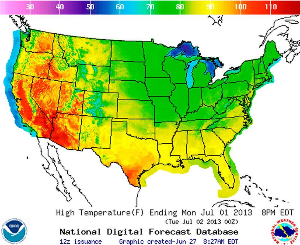 California Weather Map Temperature - Klipy - Weather Heat Map California