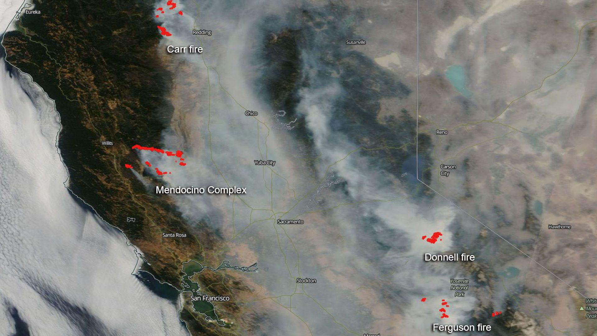 California Wildfires Are Filling State With Hazardous Smoke - Axios - California Wildfire Satellite Map