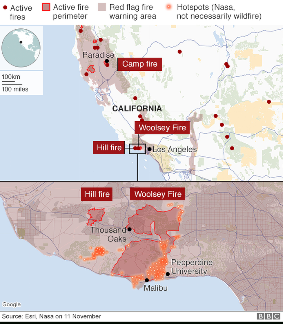 California Wildfires: Fears Of Further Damage As Winds Strengthen - California Wildfires 2018 Map