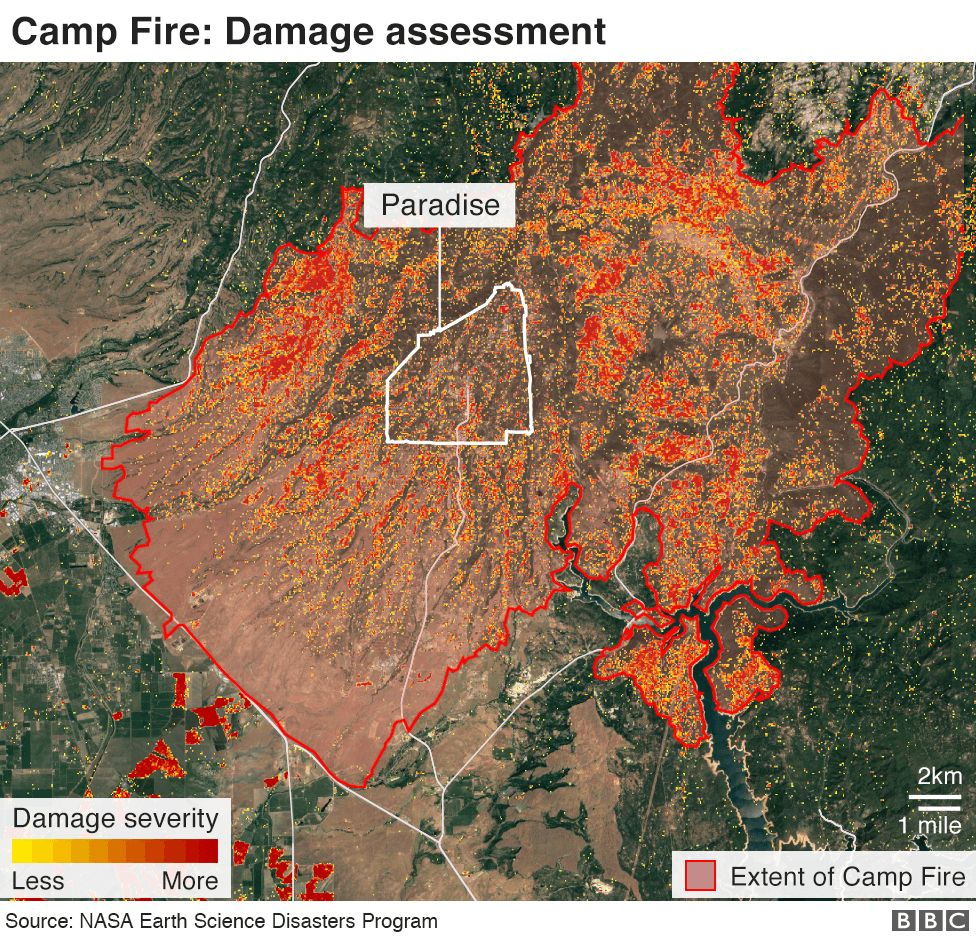 California Wildfires: Thanksgiving Hope From Ashes Of Paradise - Bbc - California Department Of Forestry And Fire Protection Map