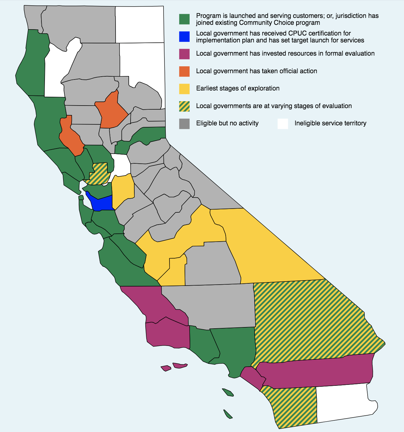 California's First Community Choice Energy Program Now Spans Three - California Utility Map