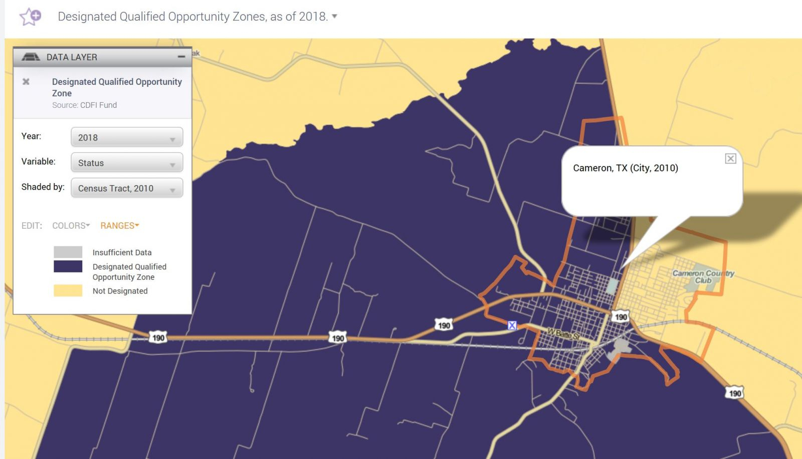 Cameron, Texas Opportunity Zone Coverage | Cameron Industrial Foundation - Texas Opportunity Zone Map