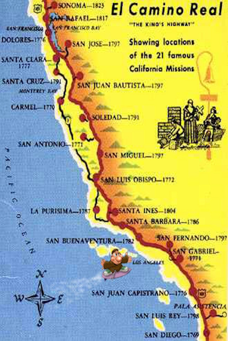 Caminorealmap California Map With Cities Map Of California Missions - California Missions Map For Kids