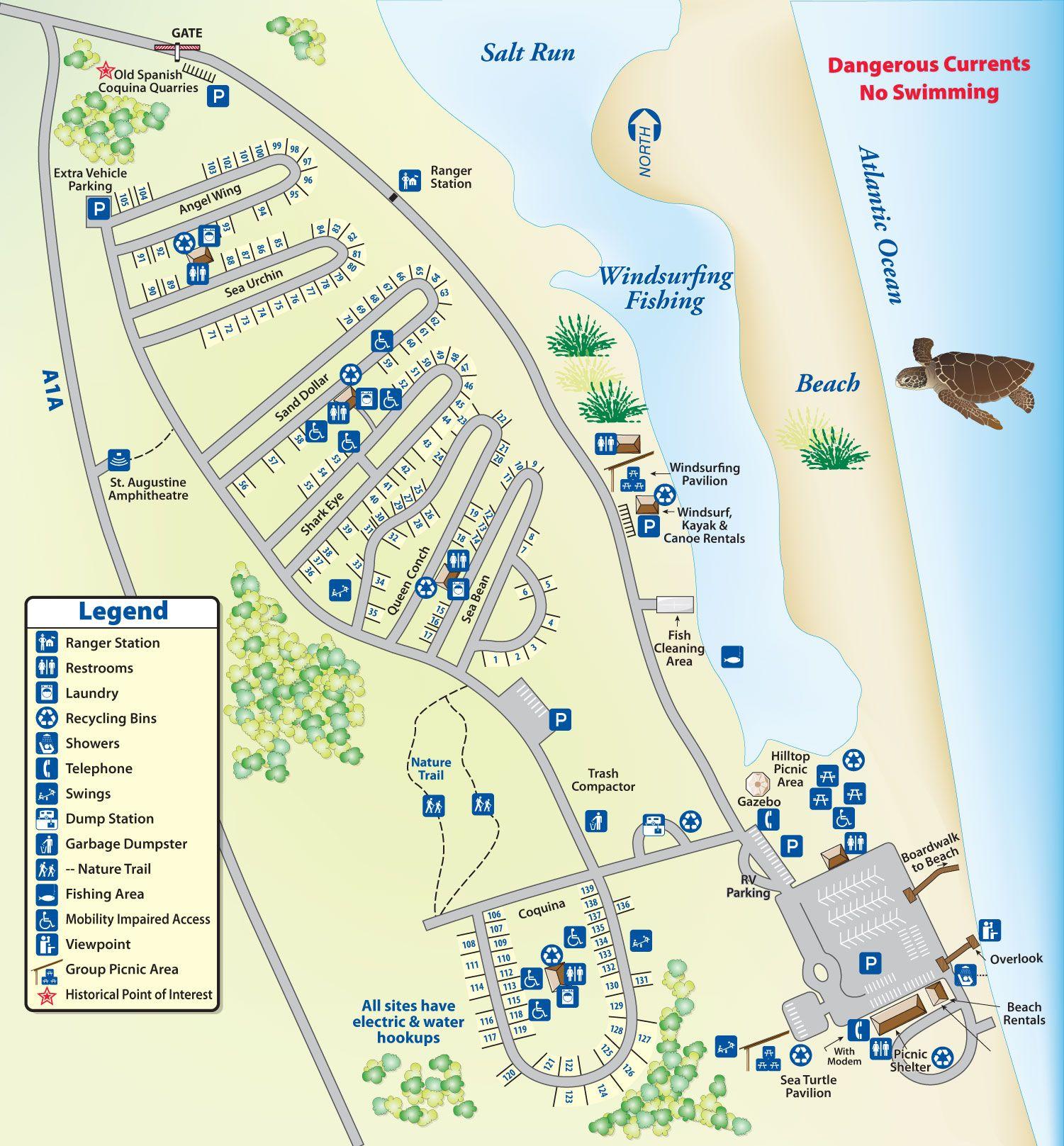 Campground Map Anastasia State Park | Florida In 2019 | Pinterest - Florida Rv Camping Map
