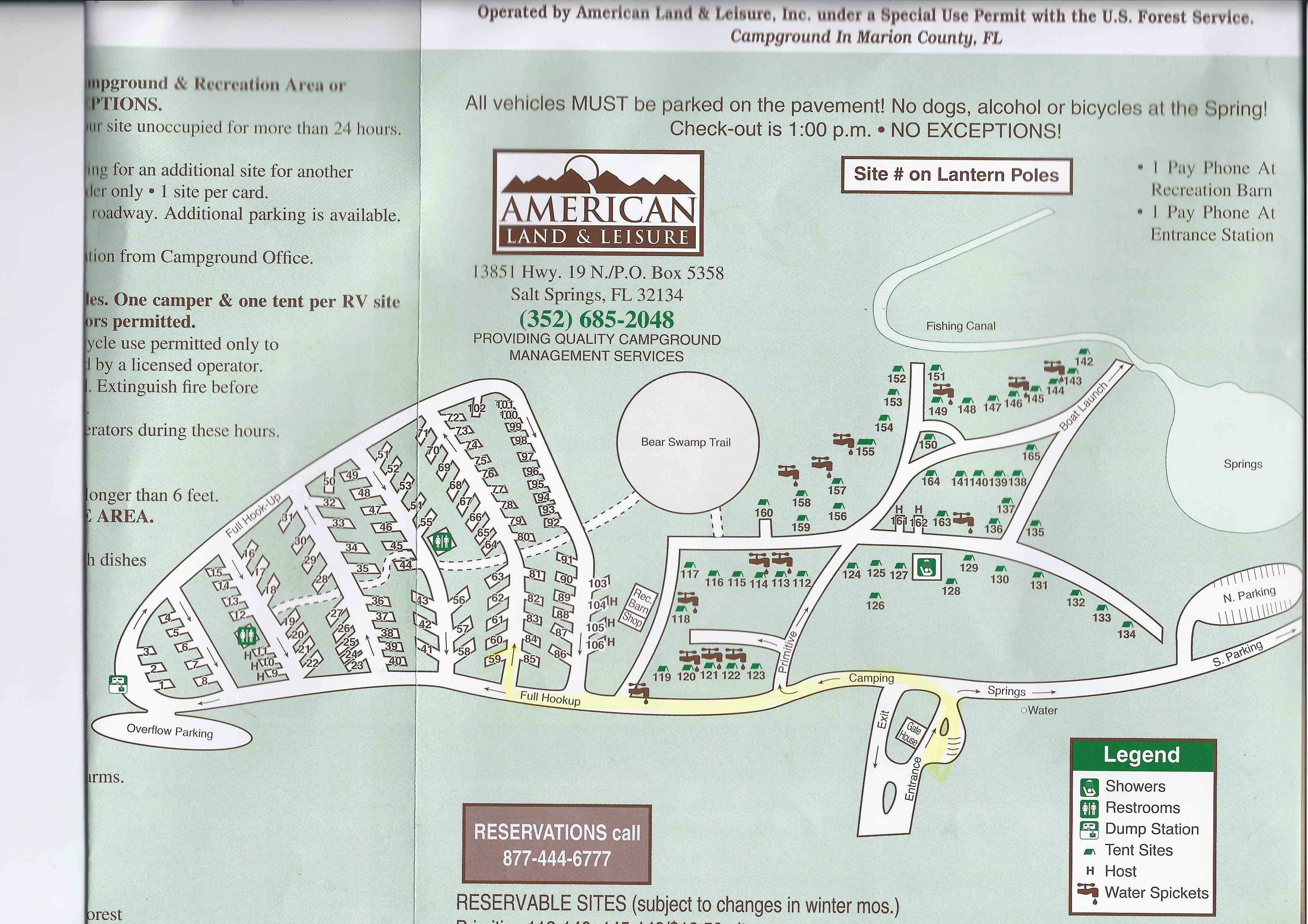Campground Map - Salt Springs Recreation Area - Salt Springs - Florida - Florida Tent Camping Map