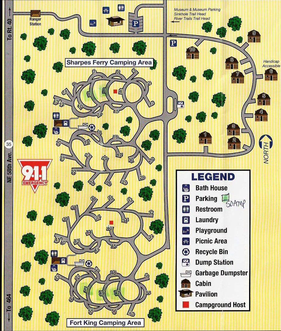 Campground Map - Silver River State Park - Ocala - Florida - Silver River Florida Map