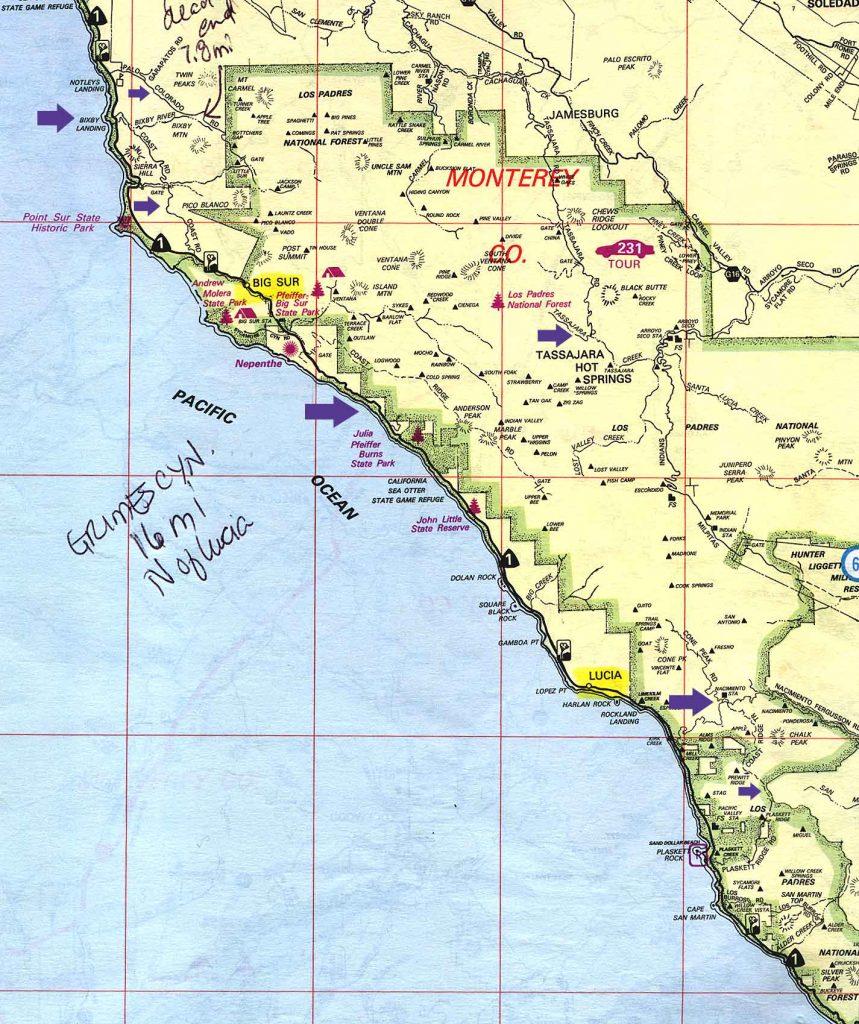 Camping California Coast Map - Klipy - Camping Central California Coast Map