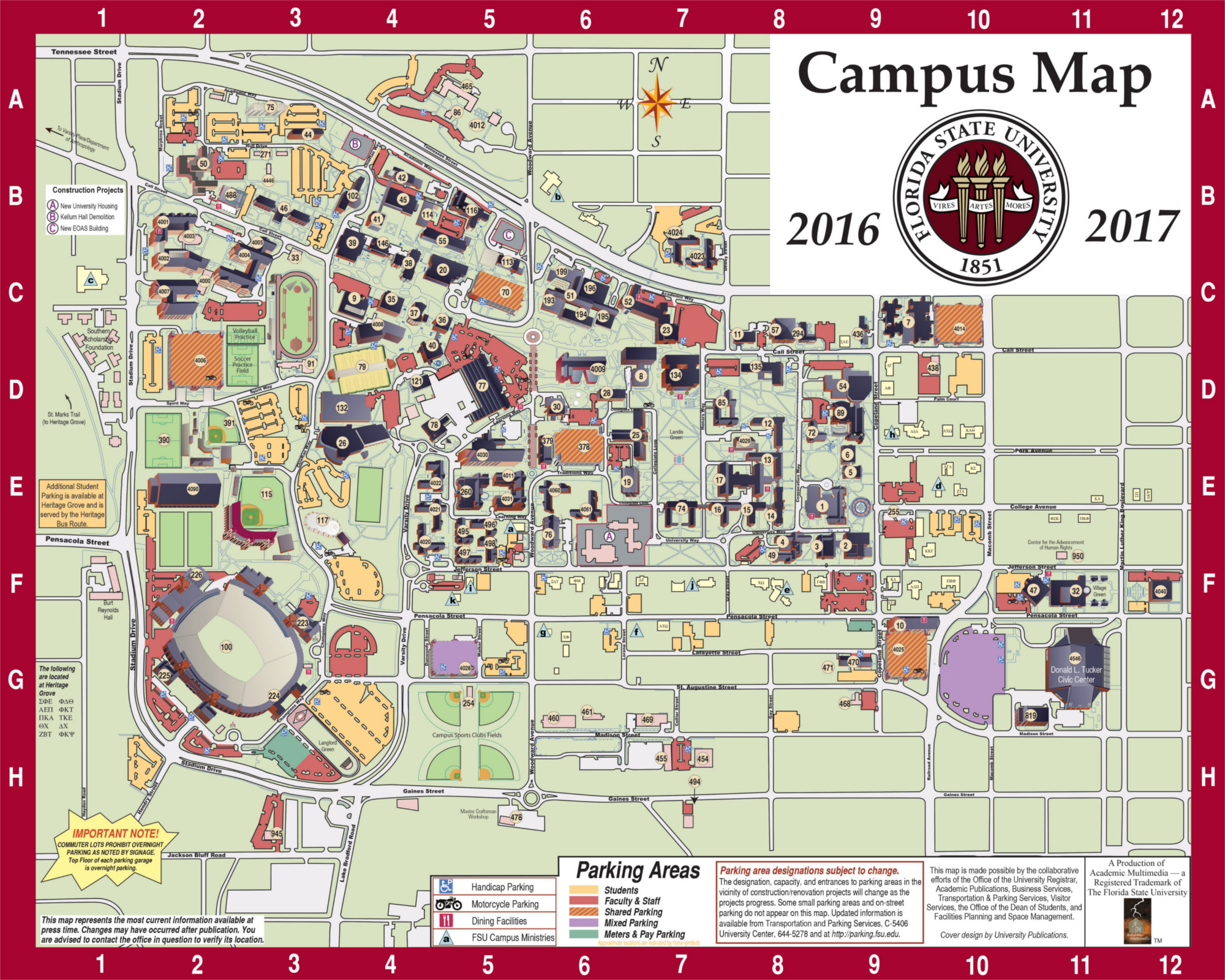 Campus Map | Fsu Online Visitor's Guide - Florida State University Map