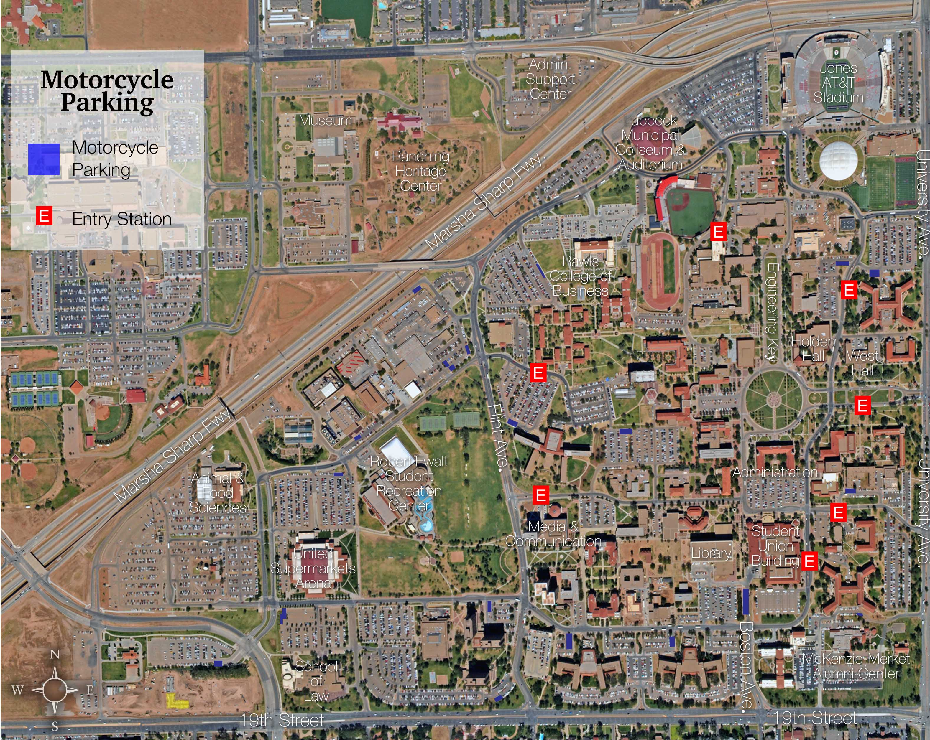 Campus Maps | Transportation & Parking Services | Ttu - Texas Tech Campus Map