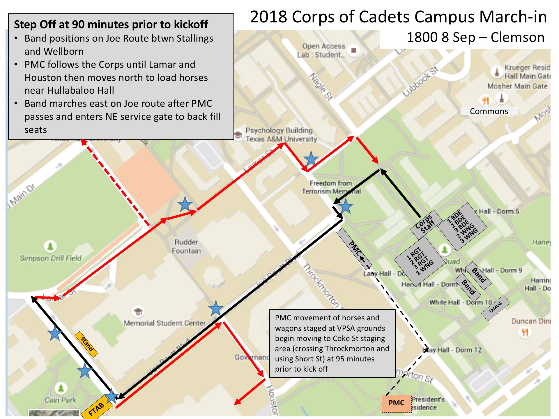 Campus March-In Details – Texas A&m Corps Of Cadets - Texas A&m Map