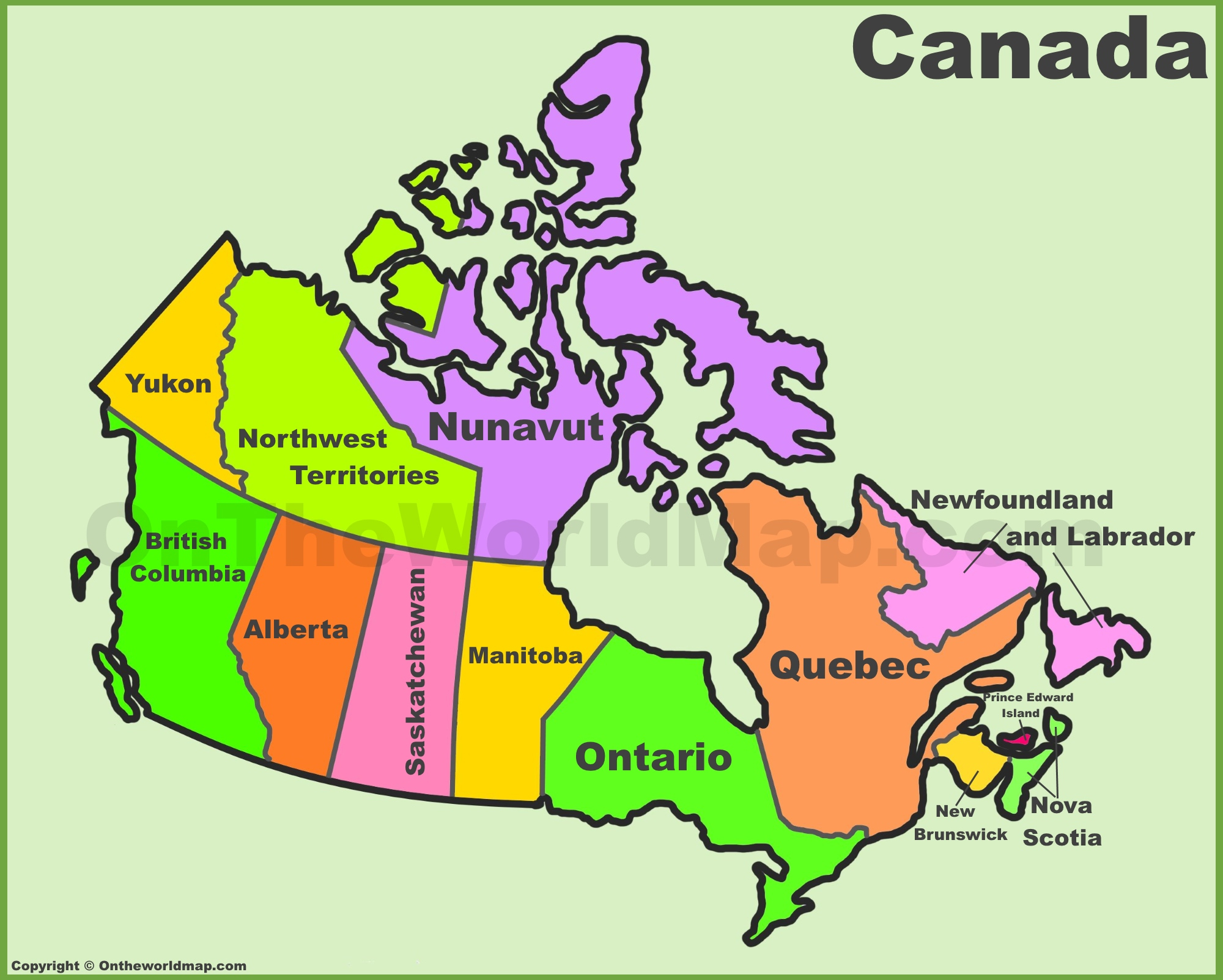 Canada Provinces And Territories Map   List Of Canada Provinces And - Free Printable Map Of Canada Provinces And Territories