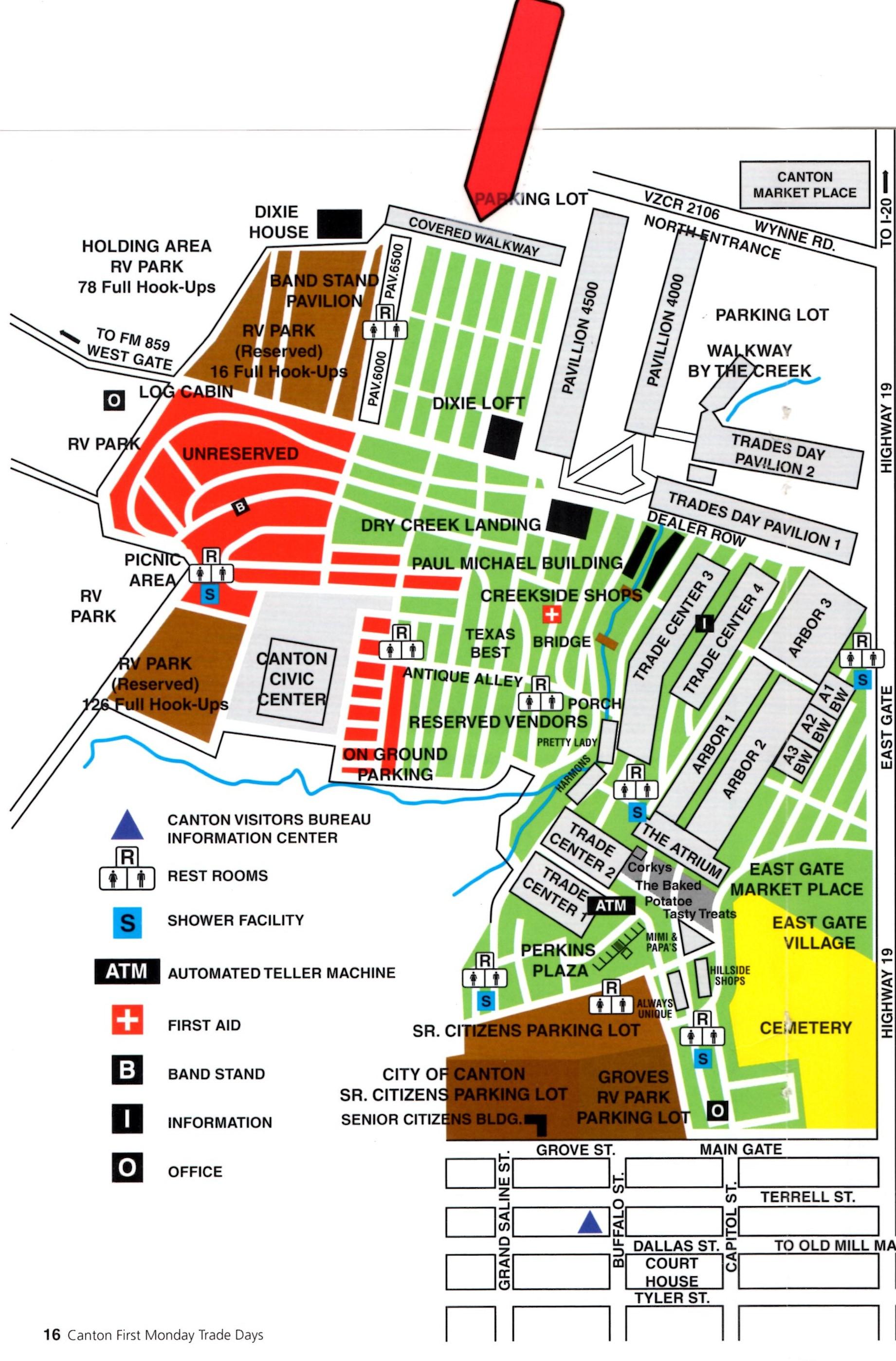 Canton First Monday Location – Dish Warehouse - Canton Texas Flea Market Map