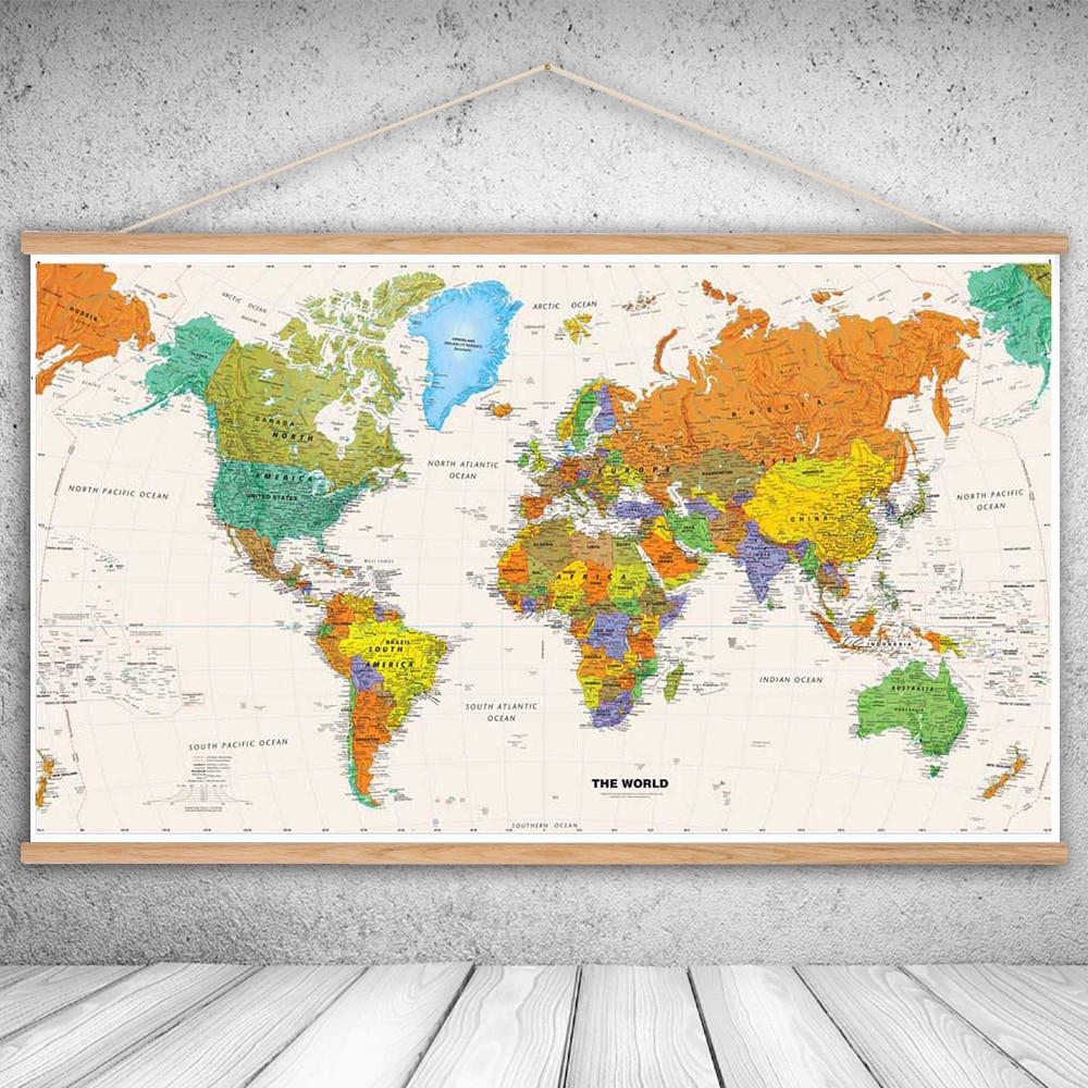 Canvas Oil Prints Painting National Geographic World Map Wall Art - National Geographic World Map Printable