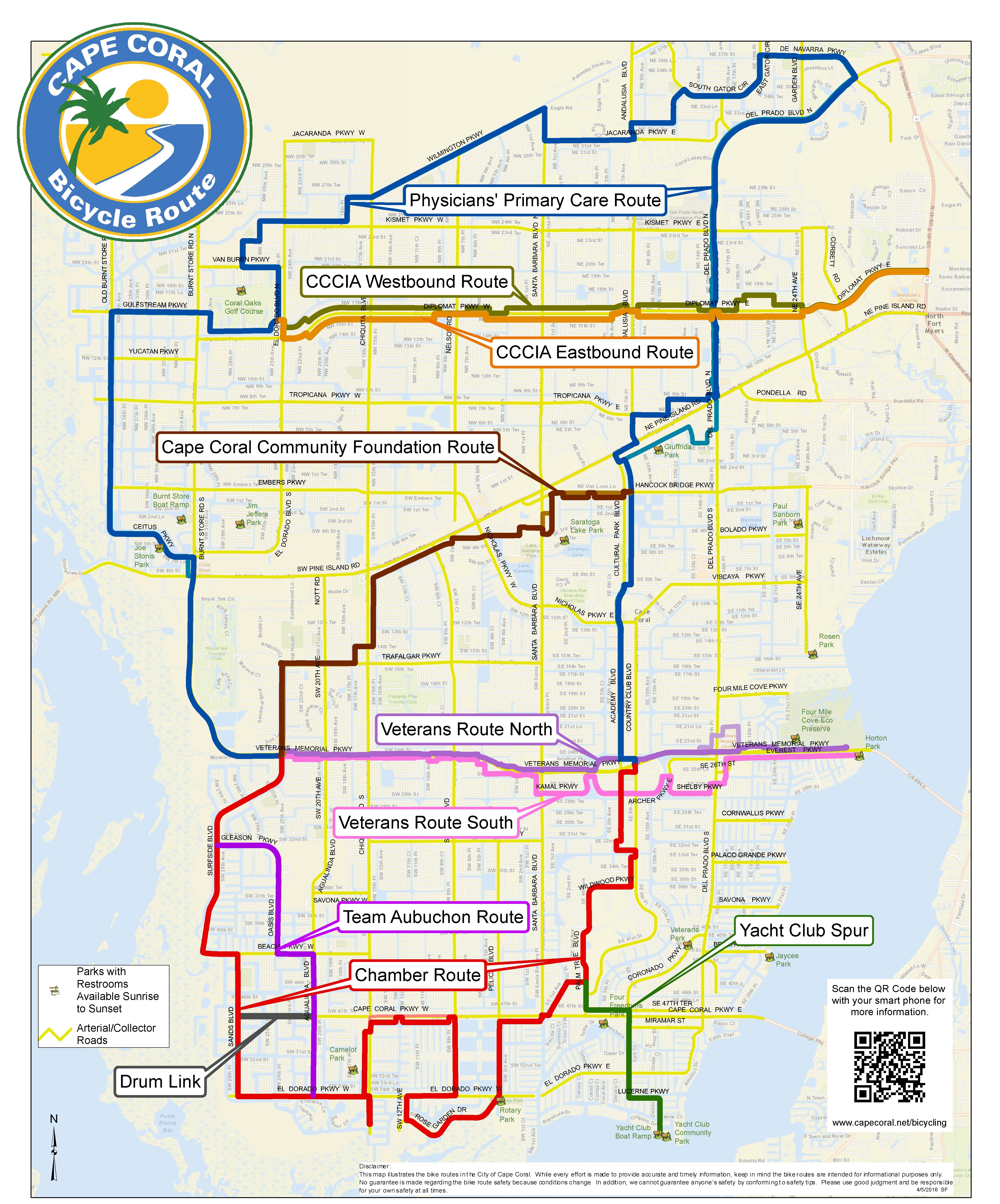 Cape Coral Bicycling Interactive Maps - Street Map Of Cape Coral Florida