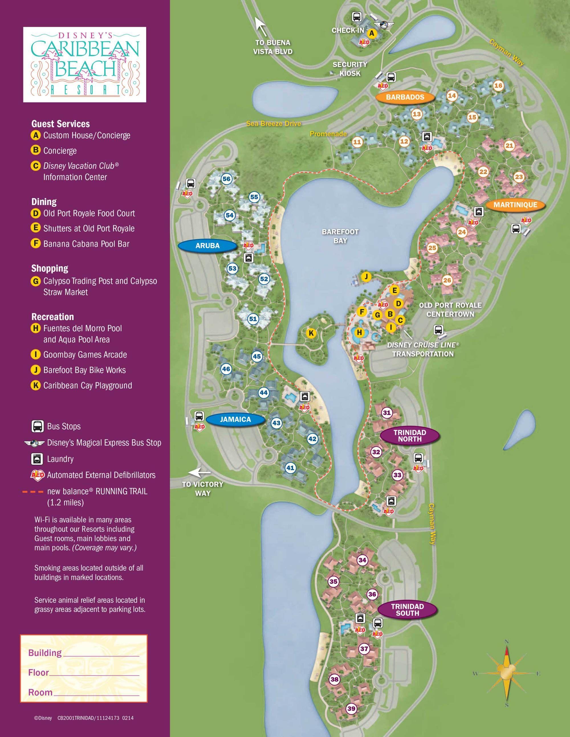 Caribbean Beach Resort Map | Disney Vacation | Caribbean Beach - Florida Resorts Map