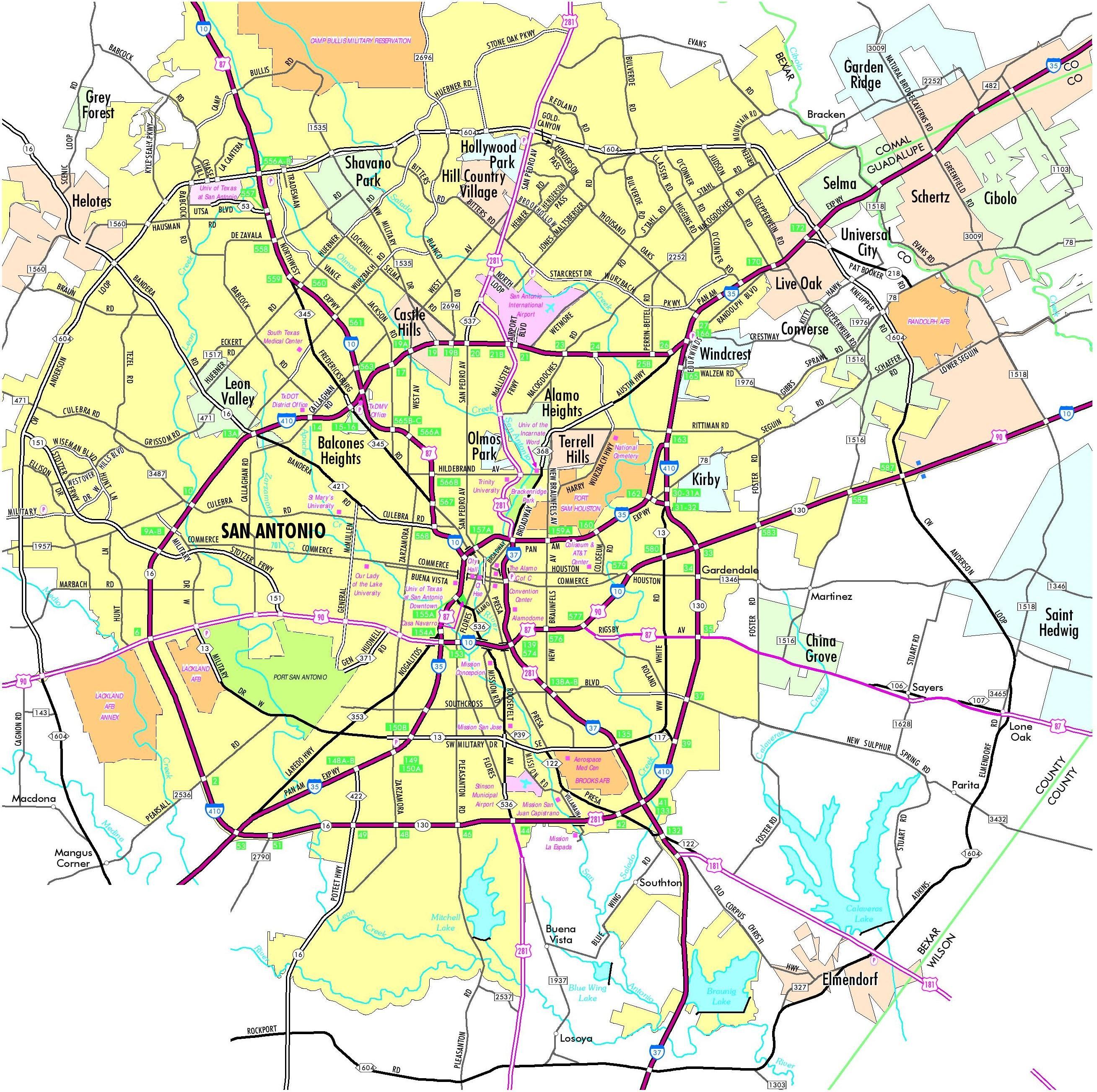 Carte De San Antonio, Texas - San Antonio De La Carte Du Texas - San Antonio Texas Maps