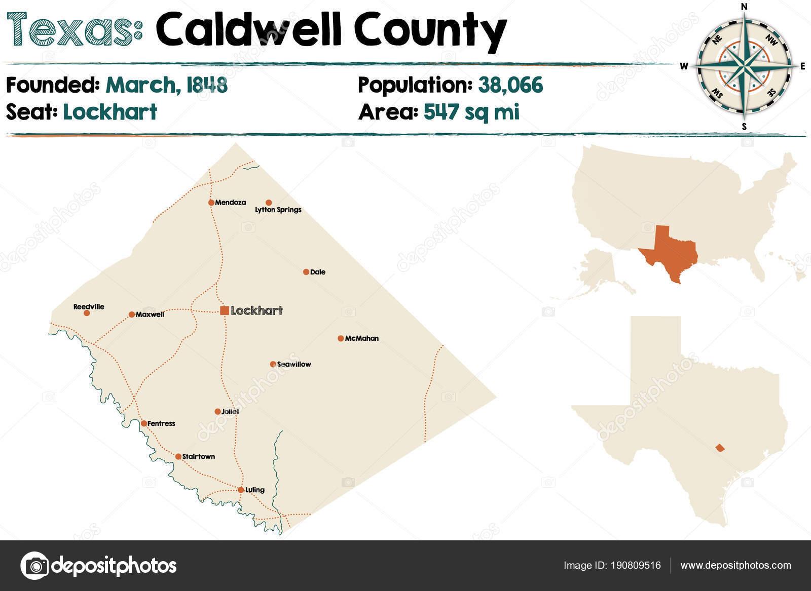 Carte Détaillée Comté Caldwell Texas — Image Vectorielle Malachy666 - Caldwell Texas Map