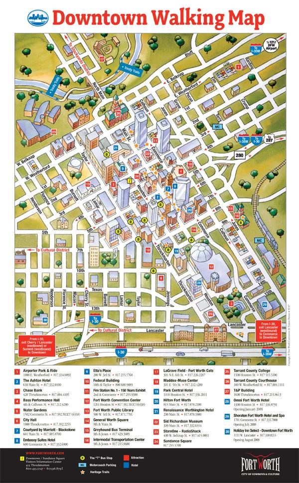 Carte Du Centre-Ville De Fort Worth - Fort Worth Downtown, Map - Map Of Downtown Fort Worth Texas