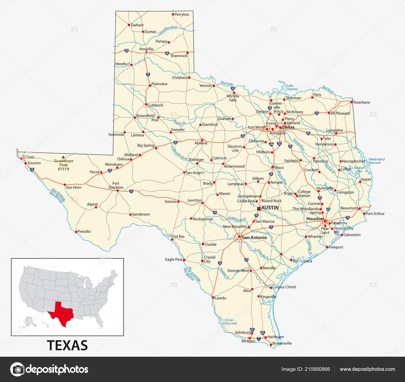 Carte Routière État Américain Texas — Image Vectorielle Lesniewski - Alpine Texas Map