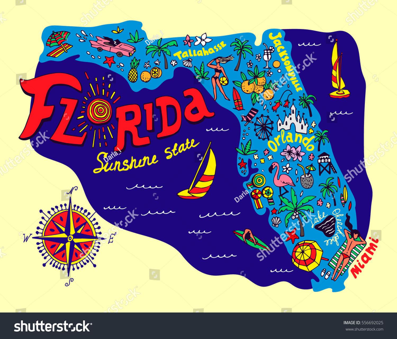 Cartoon Map Florida State Travel Attractions Image Vectorielle De - Florida Cartoon Map