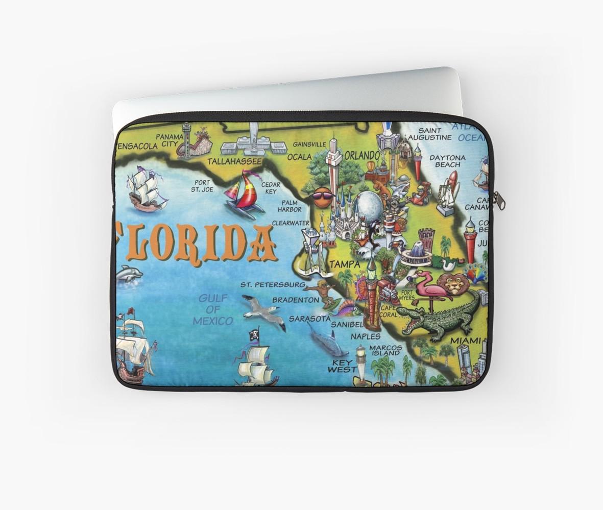 "Cartoon Map Of Florida"" Laptop Sleeveskevin Middleton | Redbubble - Florida Cartoon Map"