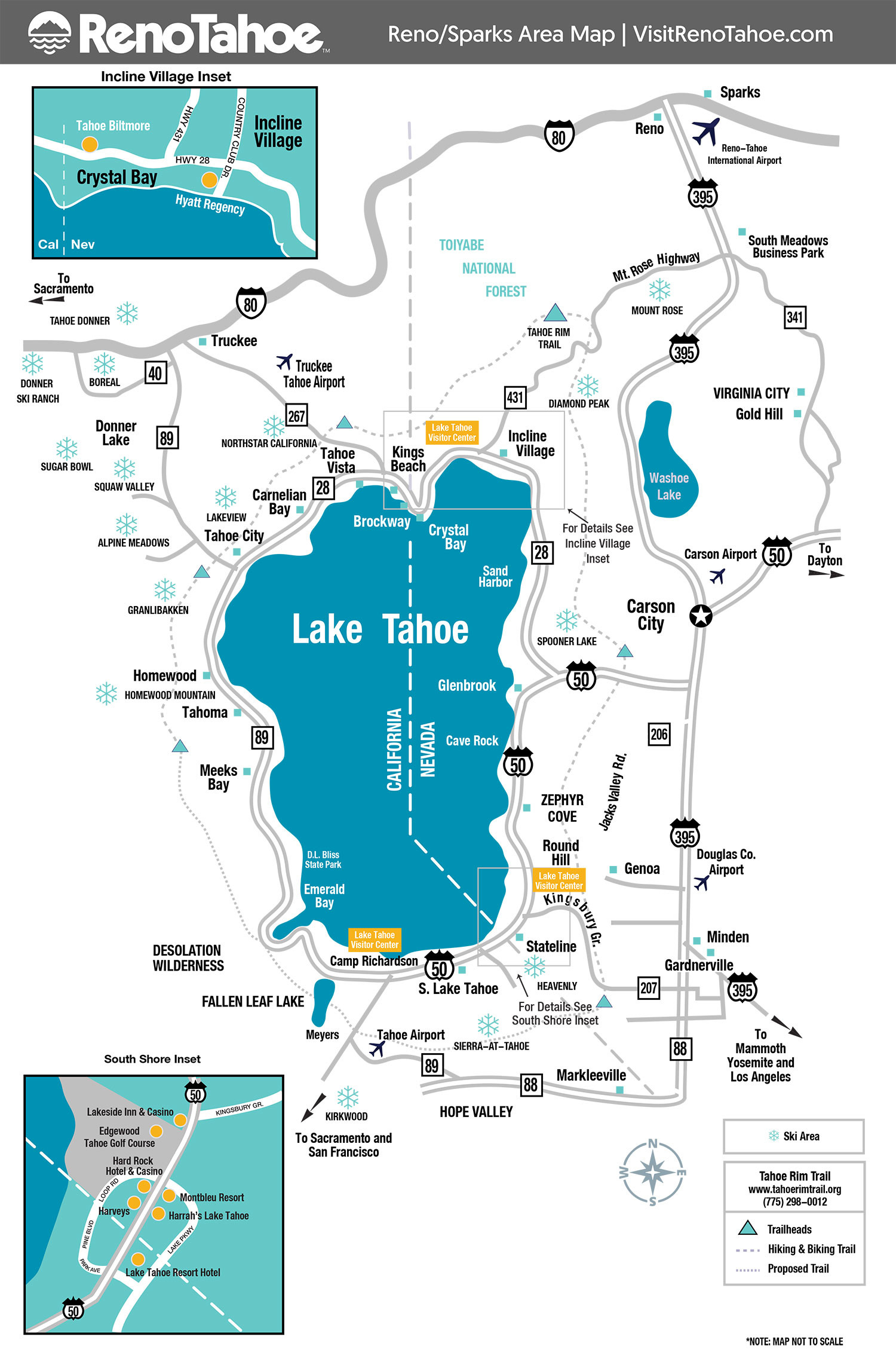 Casinos Southern California Map Outline Lake Tahoe Maps And Reno - Lake Tahoe California Map