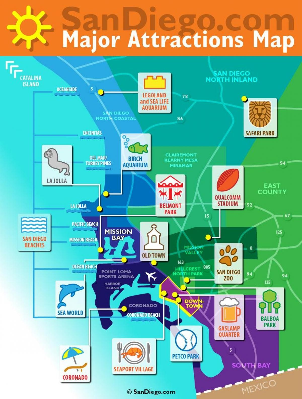Category: Maps 104 | Zhangyedahuang - San Diego Attractions Map Printable