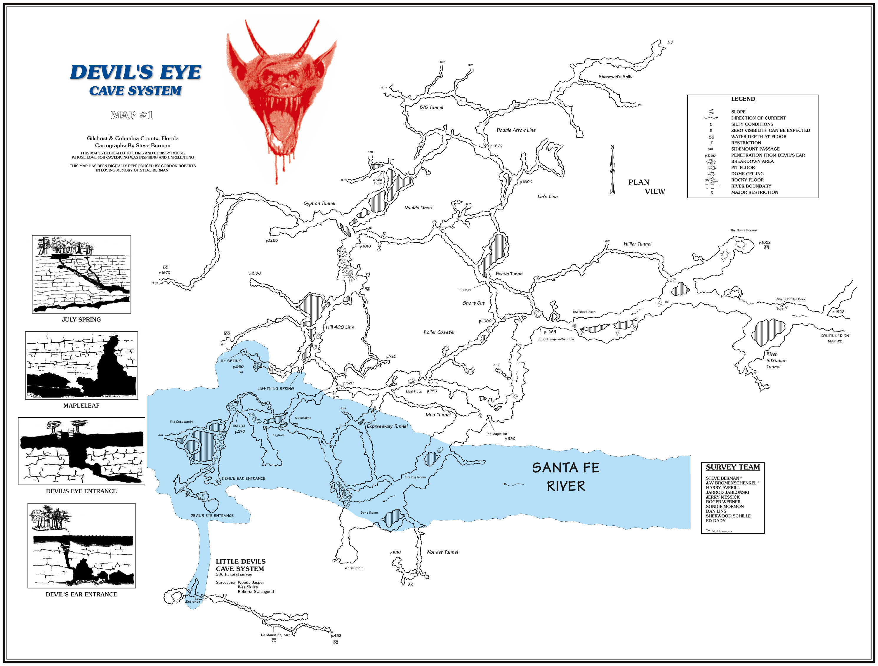 Caveatlas » Cave Diving » United States » Ginnie Springs - Devil's Den Florida Map
