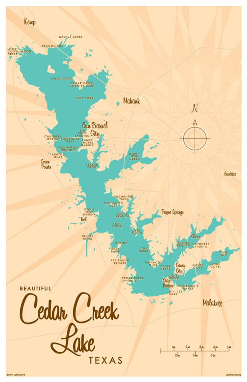 Cedar Creek Lake Tx Map Art Print | Etsy - Cedar Creek Texas Map