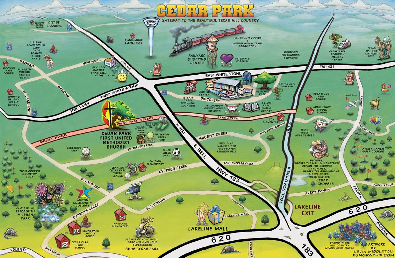 Cedar Park Cartoon Map - Cedar Park First United Methodist Church - Cedar Park Texas Map