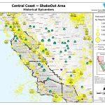 Central Coast Epicenters Map California Road Map Northern California   Map Of Central And Northern California Coast