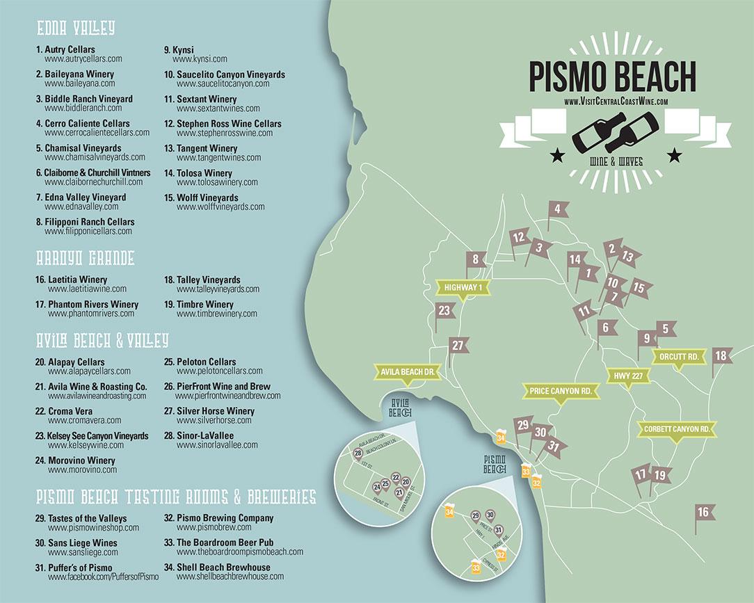 Central Coast Wine Tasting Map - Pismo Beach, California - Pismo Beach California Map