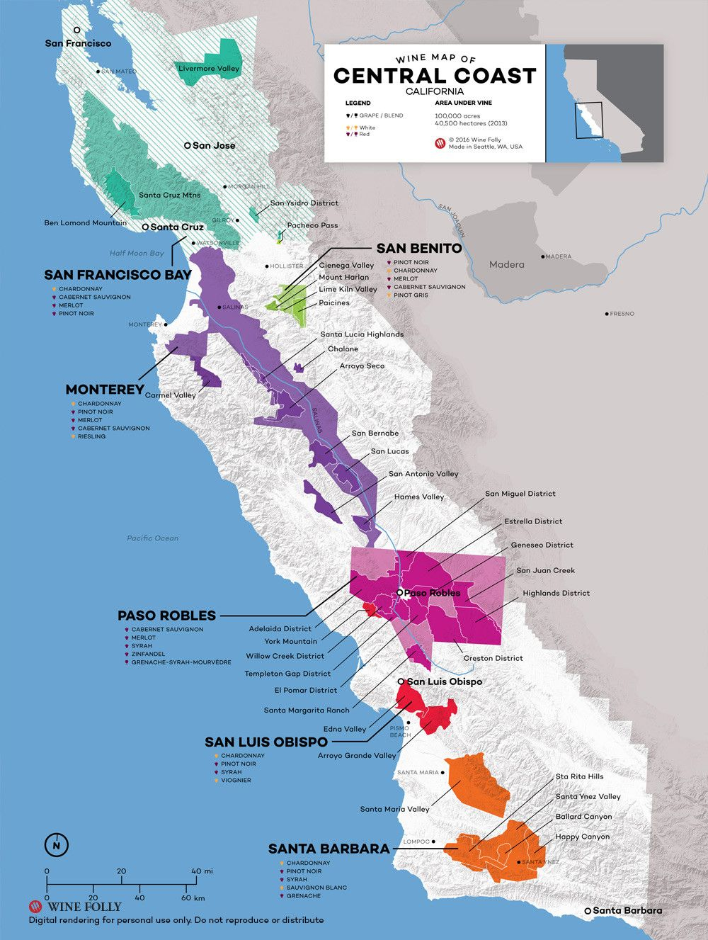 Central Coast Wine: The Varieties And Regions | Wine Maps - Camping Central California Coast Map