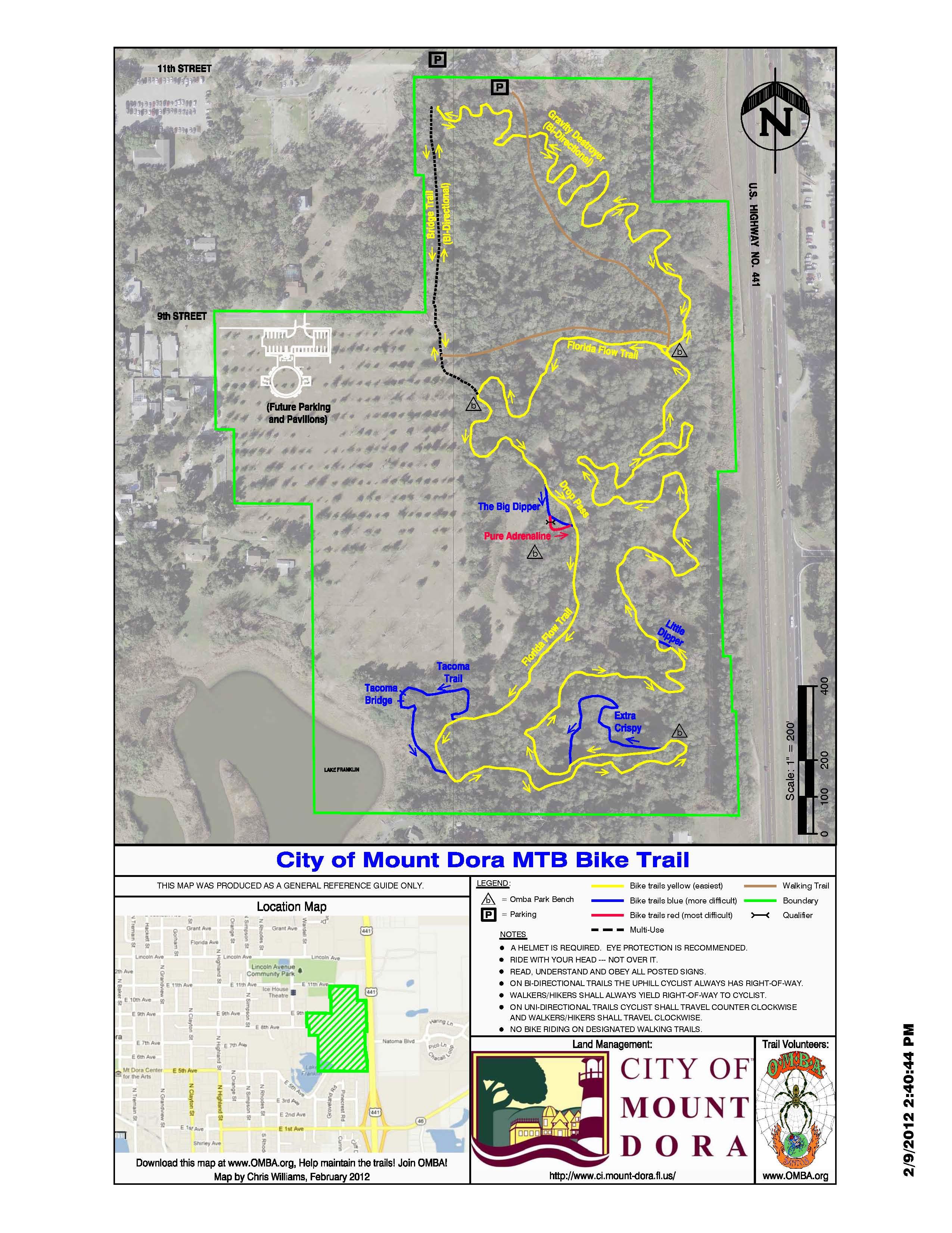 Central Florida Mountain Bike Trails: Mount Dora Bike Trail - Central Florida Bike Trails Map