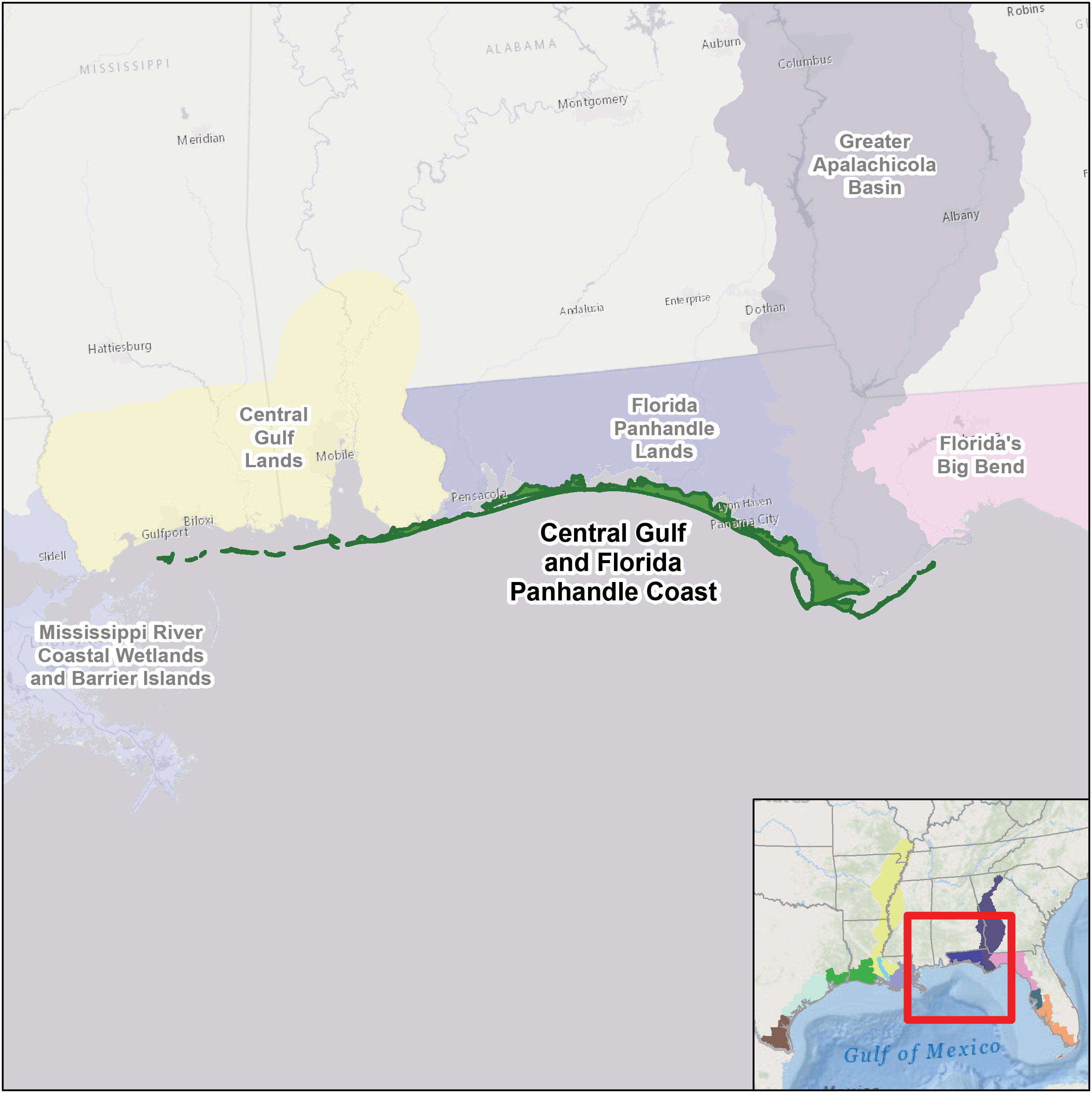 Central Gulf And Florida Panhandle Coast | U.s. Fish & Wildlife Service - Road Map Of Florida Panhandle