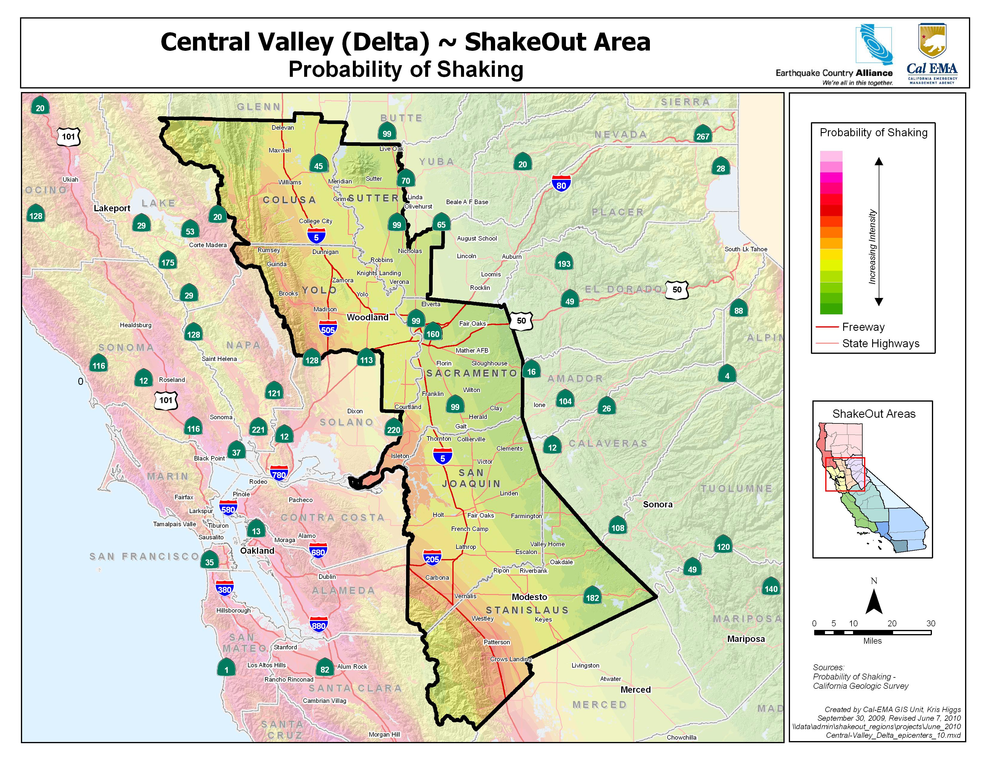 Central Valley Delta Probability Map Google Maps California Usgs - Usgs California Nevada Earthquake Map