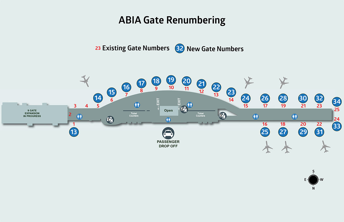 Changing Our Numbers; Gate Renumbering To Begin July 31 - Austin Texas Airport Terminal Map