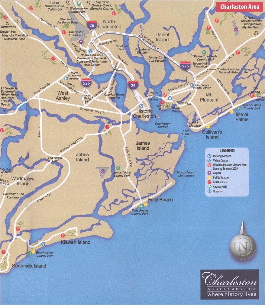 Charleston Sc Area Map - Printable Map Of Charleston Sc