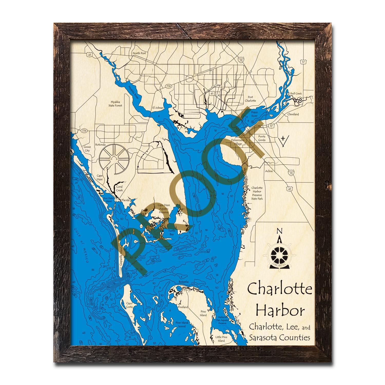 Charlotte Harbor, Florida Wood Maps | Topographic Nautical Charts - Charlotte Harbor Florida Map
