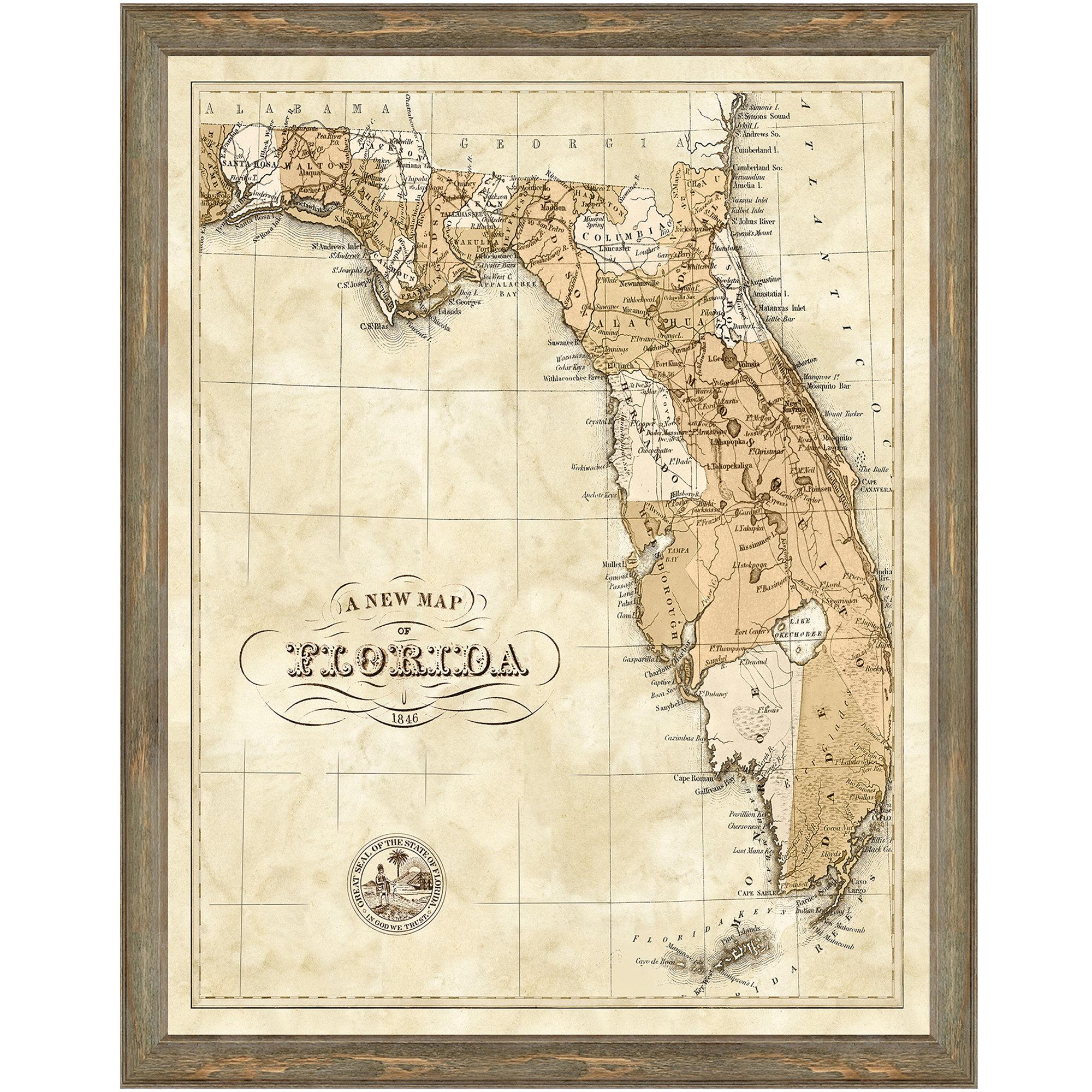 Charlton Home 'map Of Florida' Framed Graphic Art Print | Wayfair - Framed Map Of Florida