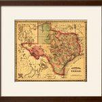 Charlton Home 'texas   Panoramic Map' Framed Graphic Art Print | Wayfair   Framed Texas Map