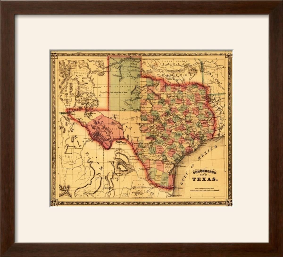 Charlton Home 'texas - Panoramic Map' Framed Graphic Art Print | Wayfair - Framed Texas Map