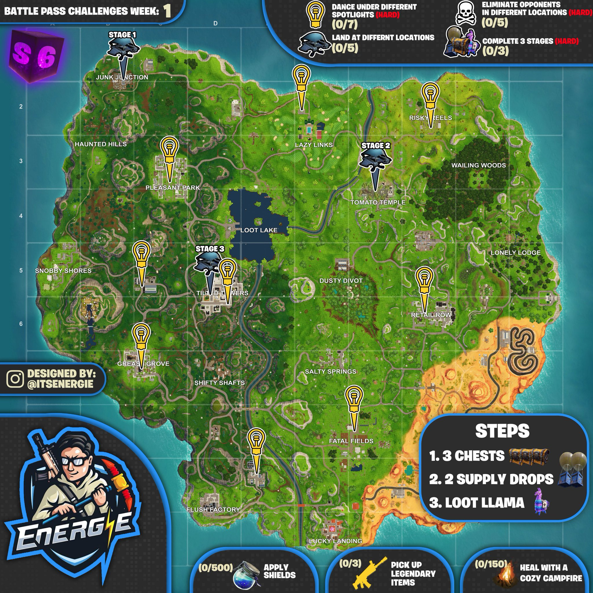 Cheat Sheet Map For Fortnite Battle Royale Season 6, Week 1 - Printable Fortnite Map