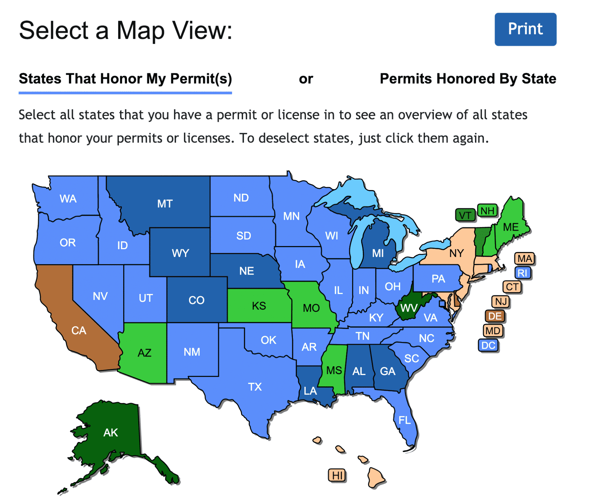 Check Out The New Concealed Carry Maps - Usa Carry - Florida Non Resident Ccw Reciprocity Map