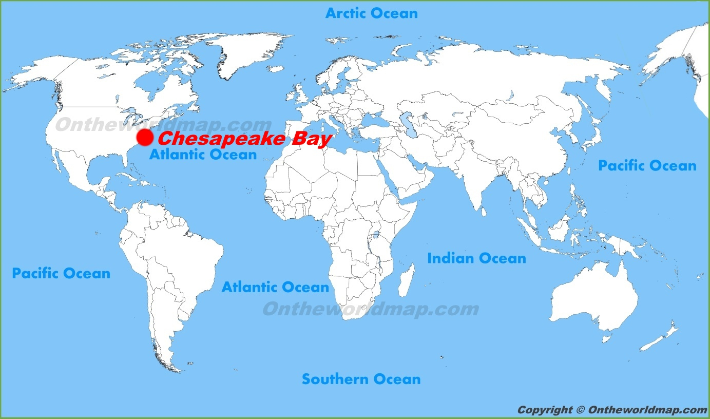 Chesapeake Bay Location On The World Map - Printable Map Of Chesapeake Bay